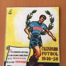 Coleccionismo deportivo: CALENDARIO DESPLEGABLE BOLSILLO FUTBOL 1949-50 (PUBLICIDAD MASAJE GLACIAL FONTORDERA MANRESA). Lote 198207423