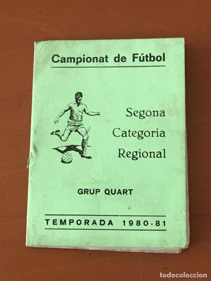 PROGRAMA FUTBOL CAMPEONATO TEMPORADA 1980-81 SEGONA CAT. REGIONAL (TONA, CENTELLES,TARADELL .. OSONA (Coleccionismo Deportivo - Documentos de Deportes - Calendarios)