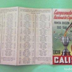 Coleccionismo deportivo: CAMPEONATO NACIONAL DE LIGA 1ª DIVISIÓN 1945-46 CALISAY. Lote 204322267
