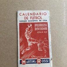 Coleccionismo deportivo: CALENDARIO DE FUTBOL TORNEO NACIONAL DE LIGA PRIMERA DIVISION 1944 1945 44 45 MARTINI Y ROSSI C2. Lote 205371503