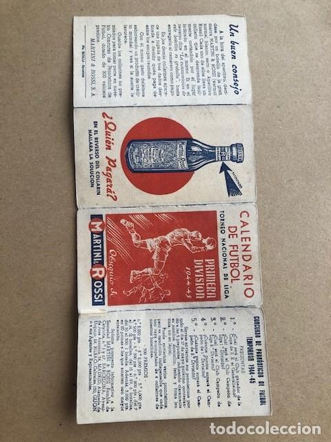Coleccionismo deportivo: CALENDARIO DE FUTBOL TORNEO NACIONAL DE LIGA PRIMERA DIVISION 1944 1945 44 45 MARTINI Y ROSSI C2 - Foto 3 - 205371503