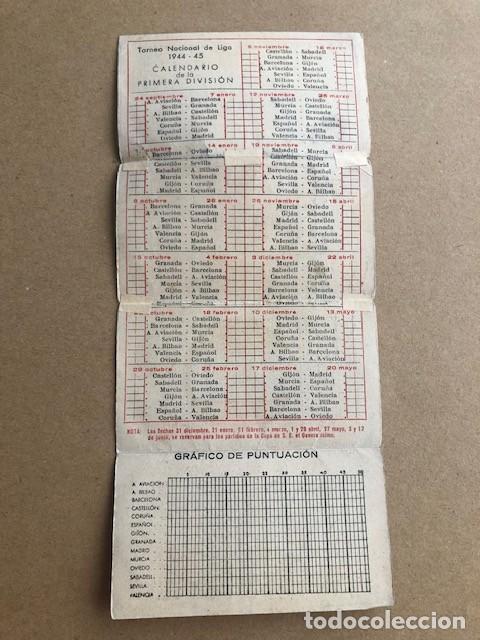Coleccionismo deportivo: CALENDARIO DE FUTBOL TORNEO NACIONAL DE LIGA PRIMERA DIVISION 1944 1945 44 45 MARTINI Y ROSSI C2 - Foto 4 - 205371503