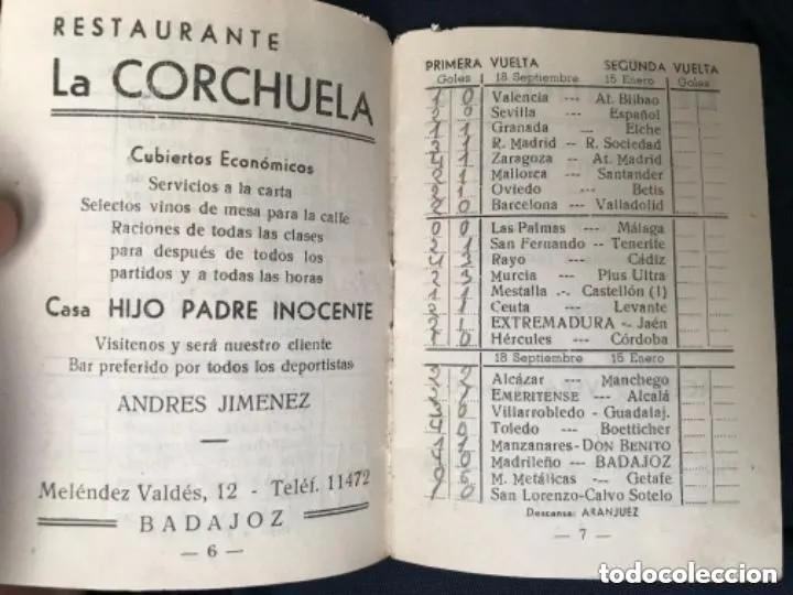 Coleccionismo deportivo: ANTIGUO CALENDARIO FUTBOL LIGA 1960 1961 PRIMERA SEGUNDA TERCERA BADAJOZ - Foto 4 - 205778943