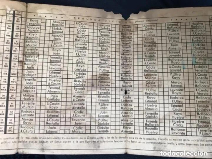 Coleccionismo deportivo: ANTIGUO CALENDARIO TORNEO NACIONAL DE LIGA PRIMERA SEGUNDA DIVISIÓN AÑOS 50 - Foto 4 - 205783017