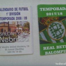 Coleccionismo deportivo: LOTE DE 2 CALENDARIOS DE FUTBOL : TEMPORADA 2008-09 Y 2017-18. Lote 205848275