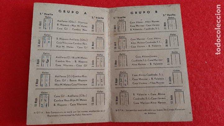Coleccionismo deportivo: CALENDARIO FUTBOL 1943 COPA JEFATURA DE DEPORTES VALENCIA ORIGINAL - Foto 2 - 210757385