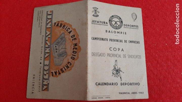 CALENDARIO FUTBOL 1943 COPA JEFATURA DE DEPORTES VALENCIA ORIGINAL (Coleccionismo Deportivo - Documentos de Deportes - Calendarios)
