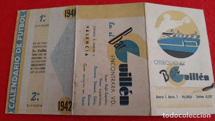 Coleccionismo deportivo: CALENDARIO FUTBOL LIGA 1942 PUBLICIDAD BAR GUILLEN VALENCIA ORIGINAL - Foto 2 - 210757505