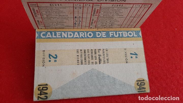 CALENDARIO FUTBOL LIGA 1942 PUBLICIDAD BAR GUILLEN VALENCIA ORIGINAL (Coleccionismo Deportivo - Documentos de Deportes - Calendarios)