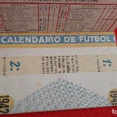 Coleccionismo deportivo: CALENDARIO FUTBOL LIGA 1942 PUBLICIDAD BAR GUILLEN VALENCIA ORIGINAL. Lote 210757505
