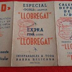 Coleccionismo deportivo: CALENDARIO FUTBOL LIGA 1943 1944 PUBLICIDAD LLOBREGAT CUCHILLERIA ORIGINAL. Lote 210757820