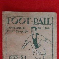 Coleccionismo deportivo: CALENDARIO FUTBOL LIGA 1933 1934 FOOT-BALL CASA UTOMOVIL VALENCIA ORIGINAL. Lote 210757966