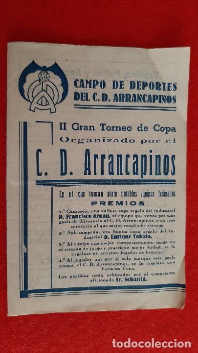 CALENDARIO FUTBOL TORNEO DE COPA CD ARRANCAPINOS EQUIPOS VALENCIA Y CUENCA ORIGINAL RB (Coleccionismo Deportivo - Documentos de Deportes - Calendarios)