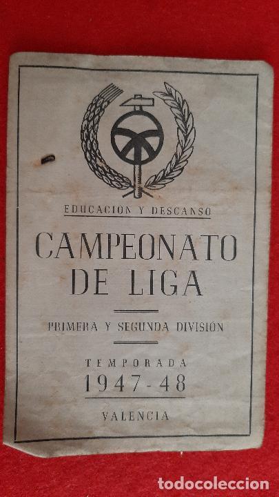 CALENDARIO FUTBOL LIGA TEMPORADA 1947 1948 EDUCACION Y DESCANSO EQUIPO RENFE Y OCASO ORIGINAL RB (Coleccionismo Deportivo - Documentos de Deportes - Calendarios)