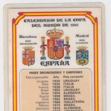 Coleccionismo deportivo: CALENDARIO DE LA COPA DEL MUNDO DE ESPAÑA82 CON MONEDA OFICIAL ACUÑACIÓN RESTRINGIDA.VISITAR REVERSO. Lote 211577865