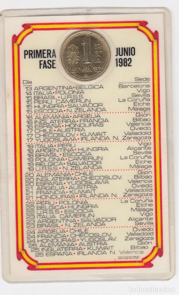 Coleccionismo deportivo: calendario de la copa del mundo de españa82 con moneda oficial acuñación restringida.visitar reverso - Foto 2 - 211577865