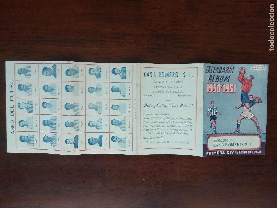 Coleccionismo deportivo: CALENDARIO ALBUM FUTBOL LIGA 50 51 1950 1951 PRIMERA DIVISION CASA ROMERO ANIS Y COÑAC MALAGA - Foto 3 - 211891602