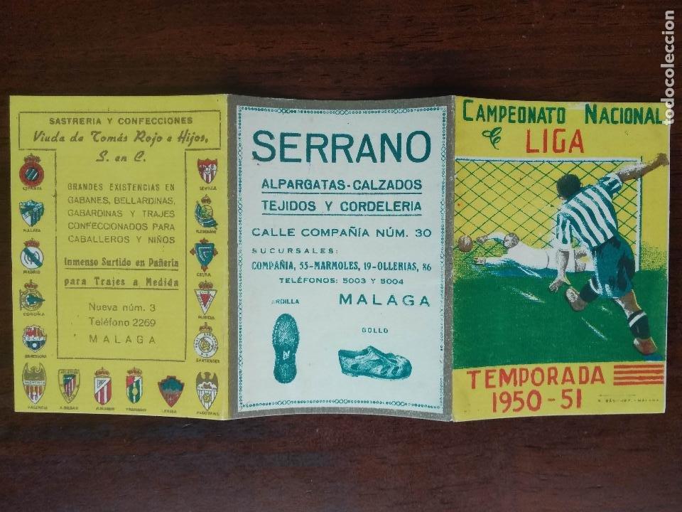 Coleccionismo deportivo: CALENDARIO FUTBOL CAMPEONATO NACIONAL DE LIGA 50 51 TEMPORADA 1950 1951 MALAGA CALZADOS SERRANO - Foto 2 - 211892053