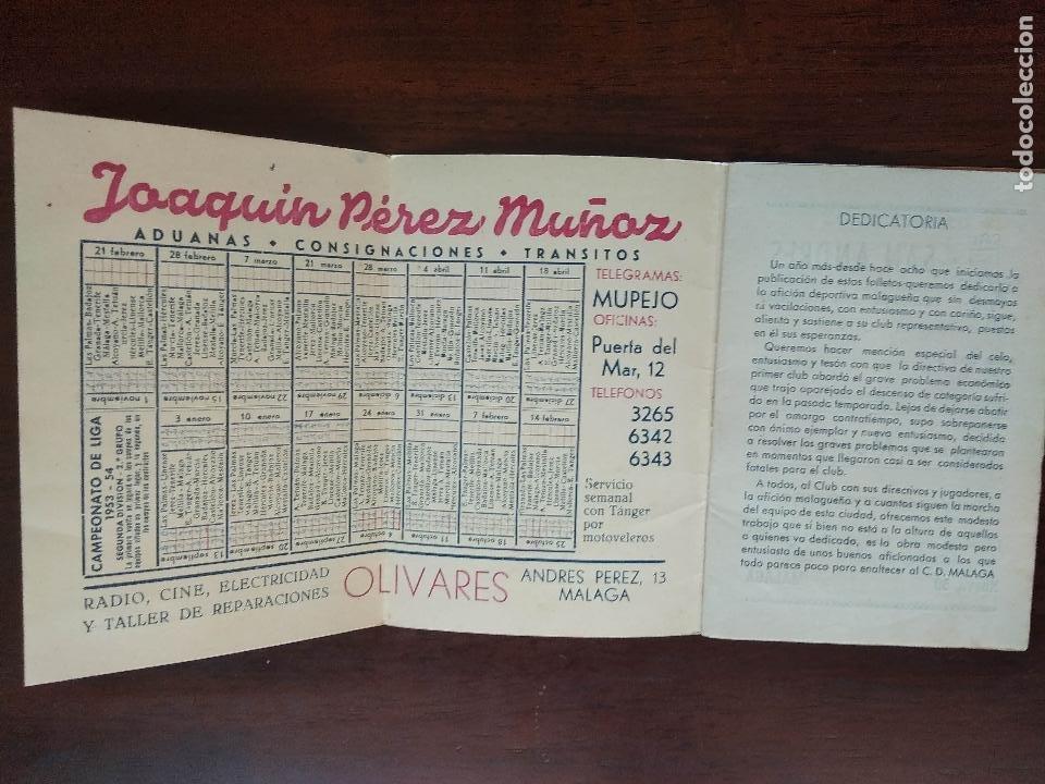 Coleccionismo deportivo: CALENDARIO FUTBOL LIGA 53 54 TEMPORADA 1953 1954 CON BIOGRAFIAS DE LOS JUGADORES DEL CD MALAGA - Foto 2 - 211892692