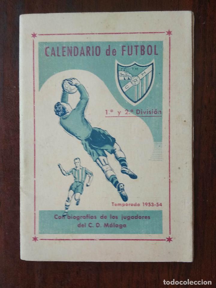 CALENDARIO FUTBOL LIGA 53 54 TEMPORADA 1953 1954 CON BIOGRAFIAS DE LOS JUGADORES DEL CD MALAGA (Coleccionismo Deportivo - Documentos de Deportes - Calendarios)