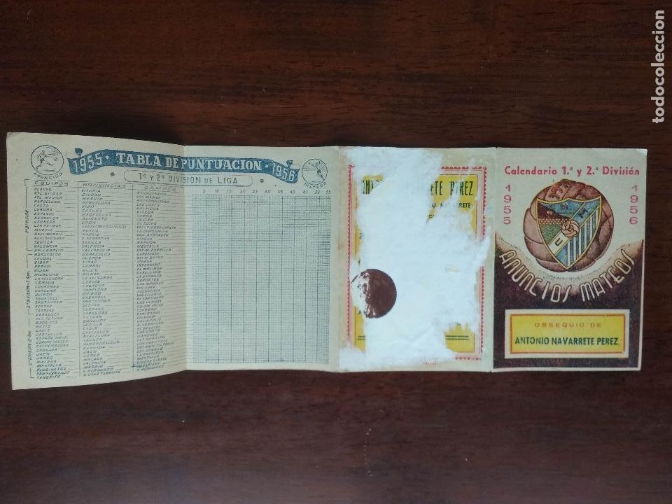 Coleccionismo deportivo: CALENDARIO FUTBOL LIGA 55 56 1955 1956 1ª Y 2ª DIVISION CD MALAGA ANTONIO NAVARRETE PEREZ - Foto 2 - 211893310