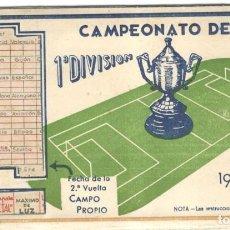 Coleccionismo deportivo: CALENDARIO CAMPEONATO DE LIGA 1ª DIVISIÓN 1945-46, OFRECIDO LAMPARA METAL.. Lote 215591955