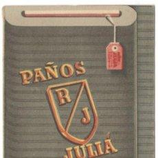 Coleccionismo deportivo: CALENDARIO LIGA PRIMERA DIVISION - 1944-45 - PAÑOS JULIÁ - 11X7 CM.. Lote 215847415
