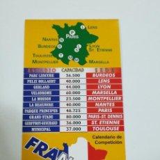 Coleccionismo deportivo: CALENDARIO DE COMPETICIÓN DEL MUNDIAL DE FRANCIA 98. Lote 220112825