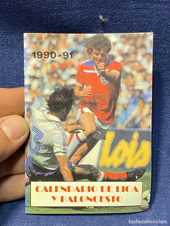 1990-1991 CALENDARIO LIGA Y BALONCESTO FUTBOL TABACOS CASA RUIZ ARANJUEZ 11,5X8CMS (Coleccionismo Deportivo - Documentos de Deportes - Calendarios)
