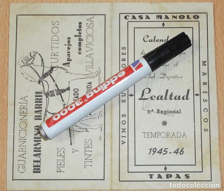 Coleccionismo deportivo: Calendario - díptico de los partidos del Lealtad de Villaviciosa temp 1945-46 - 1ª Regional - Foto 2 - 133854502