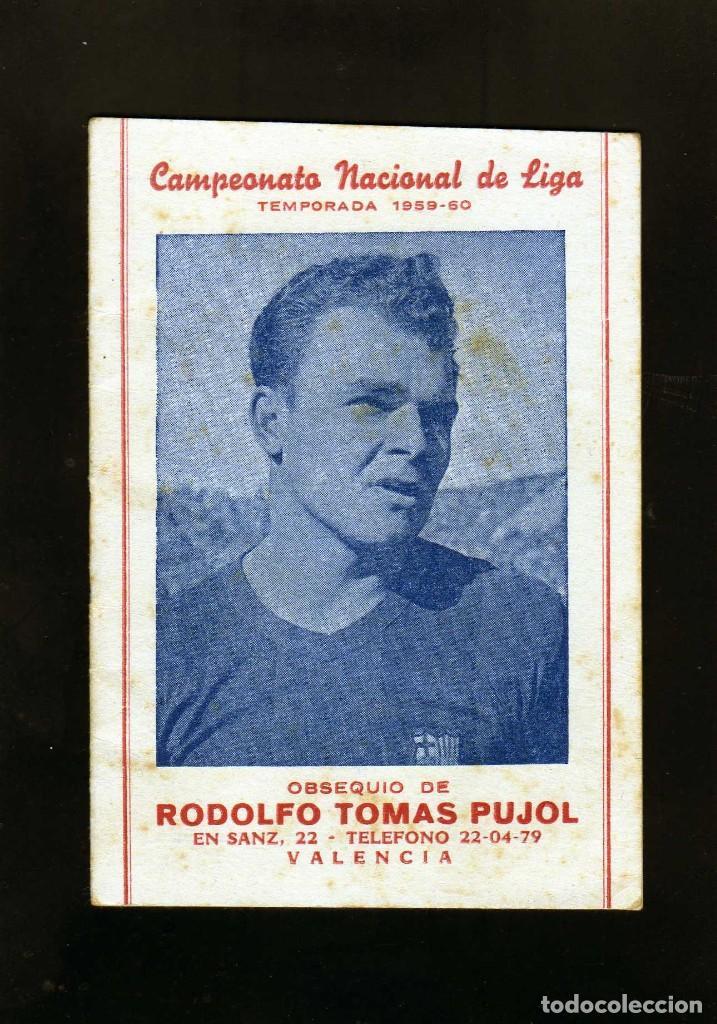 BONITO CALENDARIO LIGA FUTBOL 1959-60 CON LA IMAGEN DE KUBALA REGISRO PARTIDOS 1ª2ª Y 3ª DIVISION (Coleccionismo Deportivo - Documentos de Deportes - Calendarios)
