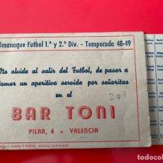 Coleccionismo deportivo: CALENDARIO - ALMANAQUE FUTBOL 1ª Y 2ª DIVISION - TEMPORADA 48-49. Lote 235825580