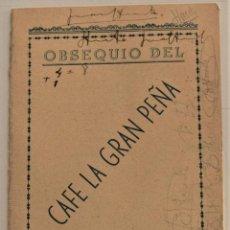Coleccionismo deportivo: CALENDARIO CAMPEONATO NACIONAL LIGA 1943-1944 3ª DIVISIÓN GRUPO 8º OBSEQUIO CAFÉ LA GRAN PEÑA TETUÁN. Lote 237866155