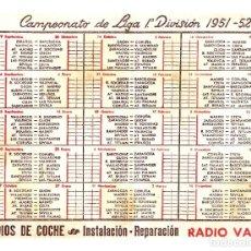 Coleccionismo deportivo: CALENDARIO CAMPEONATO DE LIGA 1ª DIVISIÓN 1951-52 - OFRECIDO POR RADIO VALLÉS (BARNA) - INÉDITO. Lote 249285260