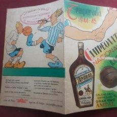 Coleccionismo deportivo: CALENDARIO DE FÚTBOL 1944 1945. PUBLICIDAD VINO ANÍBAL. Lote 262779190