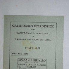 Coleccionismo deportivo: CALENDARIO ESTADISTICO DE FUTBOL 1947 - 48. Lote 287464153