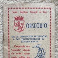 Coleccionismo deportivo: CALENDARIO DE FÚTBOL 1ª, 2ª Y 3ª DIVISIÓN - OBSEQUIO EXCMA. DIPUTACIÓN PROVINCIAL DE LEÓN - AÑO 1950. Lote 288197918