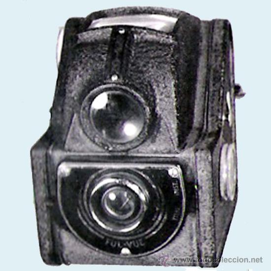 CAMARA DE FOTOS ENSIGN, INGLESA. LENTE FUL-VUE VISOR SUPERIOR, CON FUNDA. 7,5 X 10 X 9 CM. (Cámaras Fotográficas - Antiguas (hasta 1950))