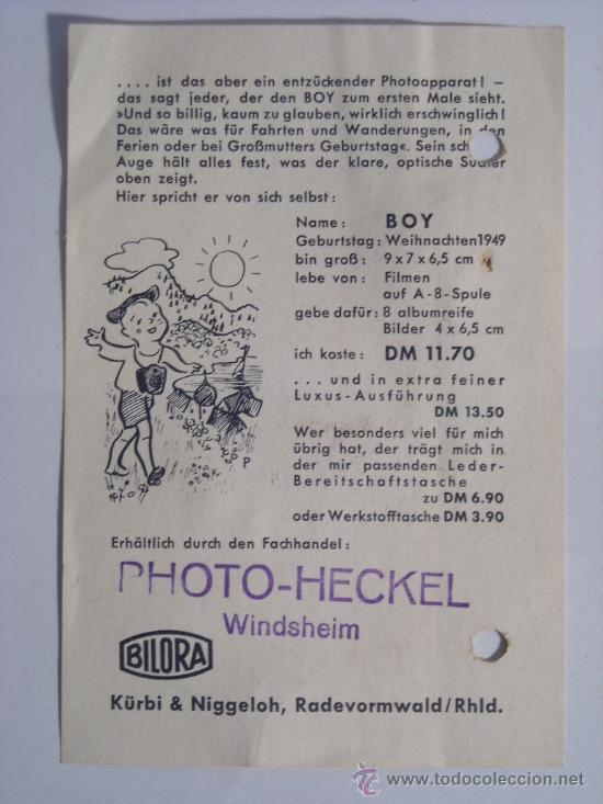 Cámara de fotos: Bilora (Kürbi & Niggeloh), Boy Box Baquelita Negra film 127 año 1949 Rara. - Foto 11 - 31282942
