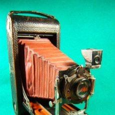 Cámara de fotos: KODAK Nº 3 A-FOLDING POCKET MODEL.B 4-FUELLE ROJO-MADERA DE TECA-PATENT IN U.S.A.-CAMARA FOTOGRAFICA. Lote 40858580