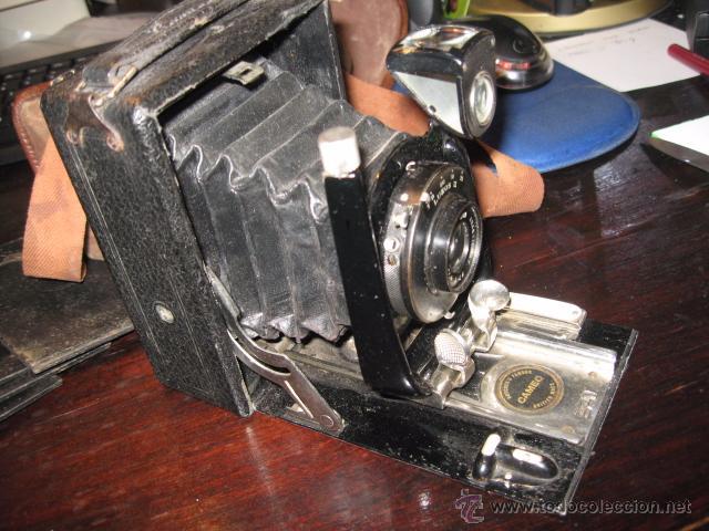Cámara de fotos: Camara de fotos Butchers - Cameo de placas . fuelle cuero negro funda tela y 6 placas - Foto 2 - 52447109