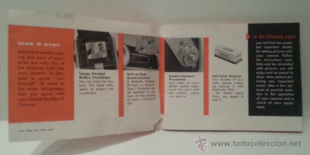 Cámara de fotos: ANTIGUA KODAK DUAFLEX IV OUTFIT DE 1955 CON FLASH, CAJA, 8 LÁMPARAS Y MANUAL ORIGINALES - Foto 31 - 53503789