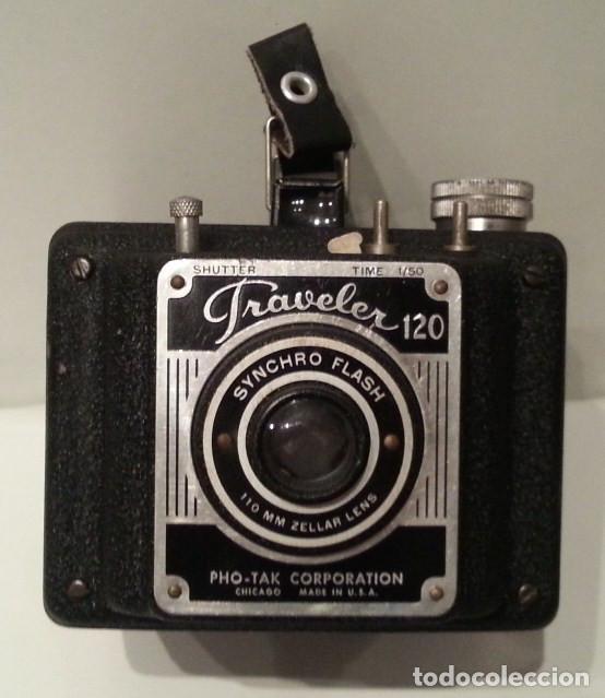 Cámara de fotos: RARA CÁMARA TRAVELER FLASH DE LA PHO-TAK CORPORATION. 15 ENERO 1953. METAL PRENSADO MOLDEADO - Foto 16 - 77561545