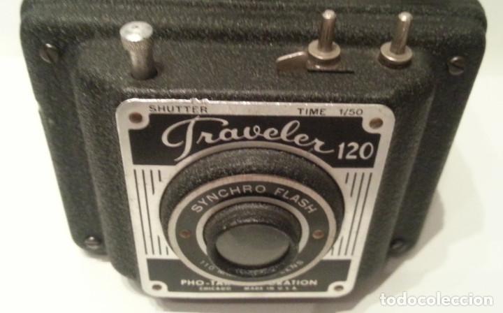 Cámara de fotos: RARA CÁMARA TRAVELER FLASH DE LA PHO-TAK CORPORATION. 15 ENERO 1953. METAL PRENSADO MOLDEADO - Foto 17 - 77561545