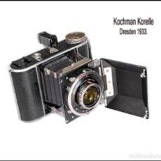 Cámara de fotos: KOCHMANN KORELLE, INUSUAL CÁMARA PLEGABLE ALEMANA. MEDIO FORMATO. MUY BUEN ESTADO.. Lote 80322385