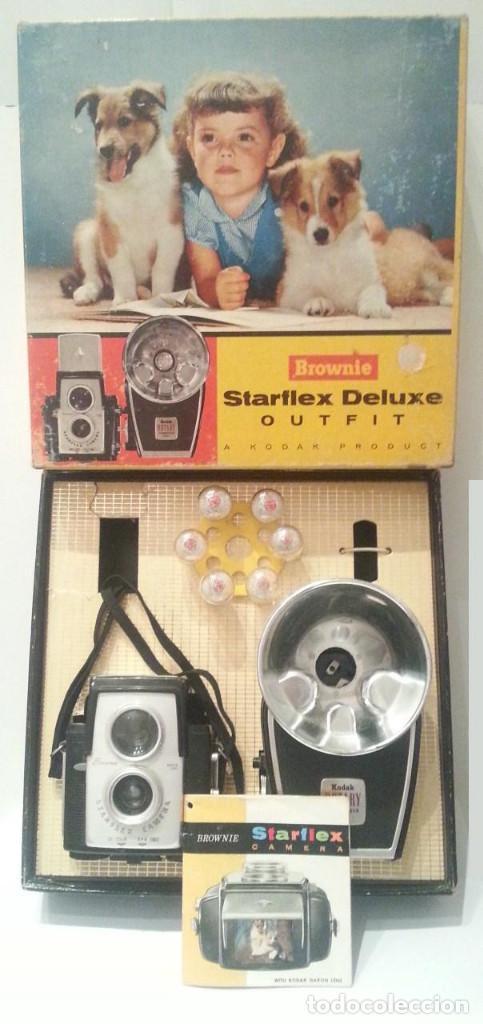 ANTIGUA KODAK STARFLEX OUTFIT DE LUXE (EDICIÓN DE LUJO)CON FLASH, CAJA Y MANUAL ORIGINALES. ÚNICA!!! (Cámaras Fotográficas - Antiguas (hasta 1950))