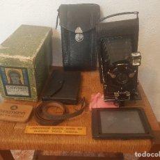 Cámara de fotos: ELEGANTE CAMARA DE FOTOS, FUELLE Y PLACAS, COMPLETA. Lote 108940583