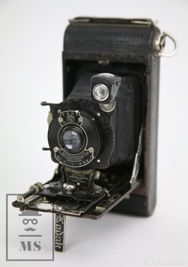 Cámara de fotos: Antigua Cámara Fotográfica de Fuelle - Pocket Kodak No. 1 - Funda Original - Eastman Kodak, Años 30 - Foto 4 - 111569403