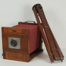 Cámara de fotos: CAMARA DE ESTUDIO DEMARIA LAPIERRE. TRÍPODE DE MADERA. PARÍS. SIGLO XIX.. Lote 132464006