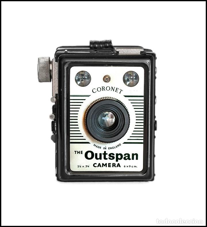 Cámara de fotos: CORONET.THE OUTSPAN CAMERA. FABRICACION INGLESA DE 1955. MUY BUEN ESTADO. - Foto 2 - 134904238